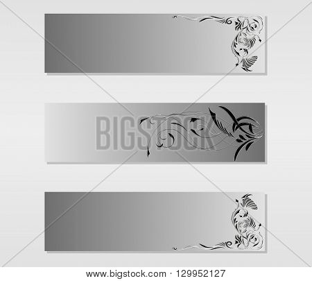 Set of vector banners with black and white abstract floral tattoo ornaments vector illustration