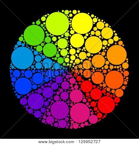 Color wheel palett or color circle isolated on black background. The physical representation of color transitions and HSB.