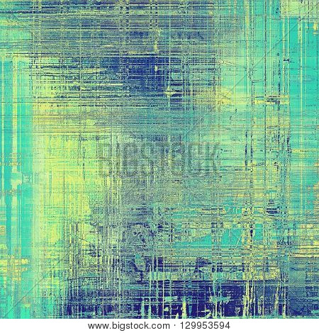 Vintage colorful textured background. Backdrop in grunge style with antique design elements and different color patterns: yellow (beige); green; gray; blue; cyan