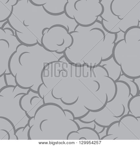Pop art smoke seamless vector graphic pattern grey