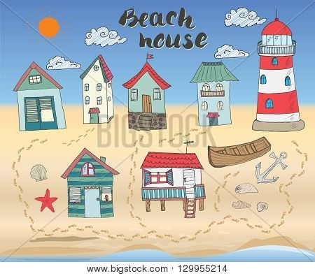 Beach huts and bungalows hand drawn outline color doodle set with light house wooden boat and anchor seashells and footsteps on sandy beach vector illustation.