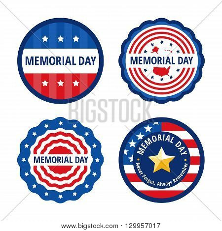Memorial day color labels set in circles and wavy circles isolated on white background. Flat Memorial day congratulation vector illustrations. Memorial day banners set with USA flag elements.