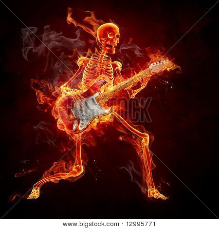 Guitarist - Series of fiery illustrations