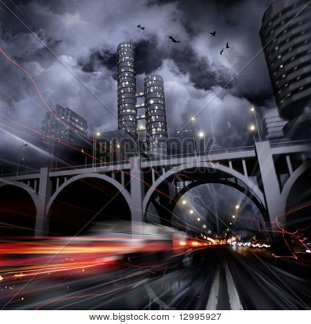 Lights of a night city