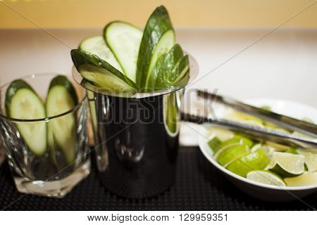For drinks cuted cucumber in glases and cuted lime
