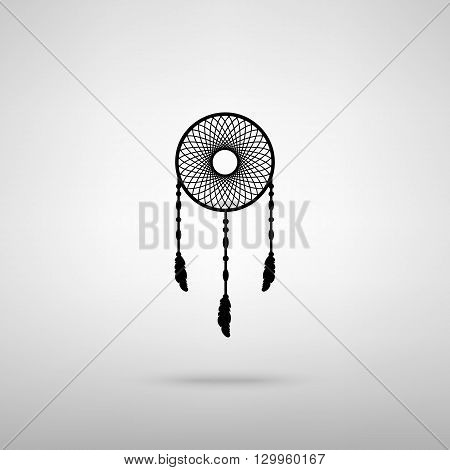 Dream catcher sign. Black with shadow on gray.
