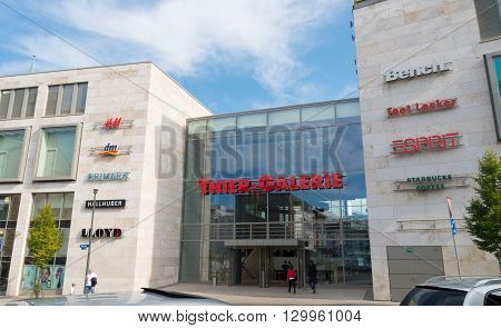 DORTMUND, GERMANY - OCTOBER 4, 2015: Entrance of the Thier Galery, a large shopping mall in the city center