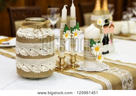 Wedding decoration in rustic style on the table