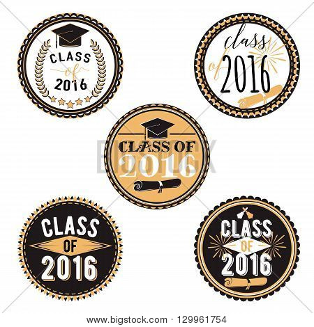 Set of graduation cupcake toppers. Vector badges for graduation event, party, high school or college graduate. Collection decoration labels printable. Class of 2016.  Set of graduation stickers.