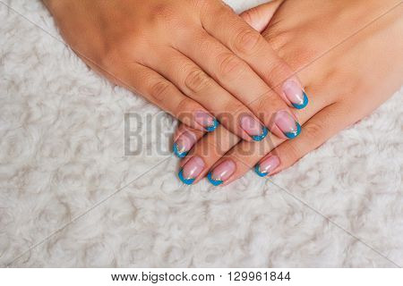 French Nail Art With Light Blue And Gold Lines
