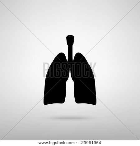 Human organs. Lungs sign. Black with shadow on gray.