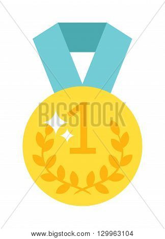 Award ribbon golden first place winner one number medal. Number one medal champion success icon. Leadership pride design element. One number medal gold price label symbol champion badge.
