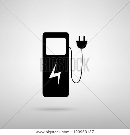 Electric car charging station sign. Black with shadow on gray.