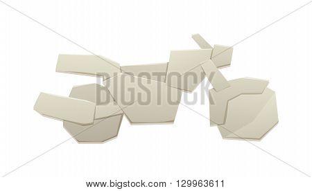 Paper bike vector, bicycle paper sign icon. Eco delivery paper bike. Family vehicle paper bike symbol. Paper bike icon vector origami kid toy. Paper bike sport decorative transport design.