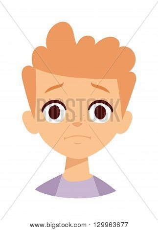 Little sadness boy isolated on white. Sadness boy vector illustration and sadness boy face character. Sadness boy face emotion and youth lonely people sadness boy. Boy face depressed alone depression.