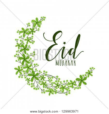 Creative Crescent Moon made by Beautiful Green Flowers, Elegant greeting card design for Islamic Famous Festival, Eid Mubarak celebration.