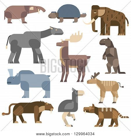 Vector prehistoric animals. Prehistoric cartoon ancient mammal ice age animals and wildlife isolated ice age animals. Wild extinct art ice age animals and wild prehistoric ice age animals.