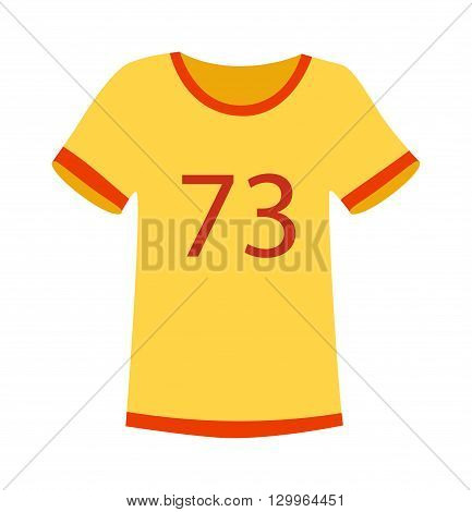 Yellow T-shirt on white background. Fashion yellow sport t-shirt vector and yellow sport t-shirt clothing. Casual yellow sport t-shirt wear and cotton yellow sport t-shirt. Body textile sport t-shirt.
