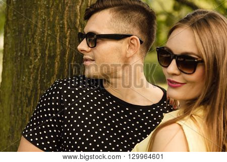 Couple In Park Getting Close.