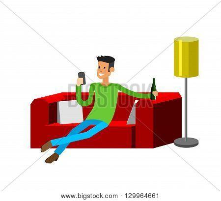 Man resting at home. Laying on sofa. Man Laying on sofa and drinking beer. Man resting at home and looking in smartphone. Man resting at home on sofa