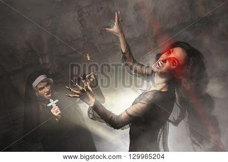 Exorcism. A nun using a crucifix kill a vampire