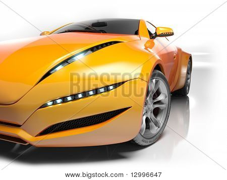 Sports car isolated on white background. My own car design.