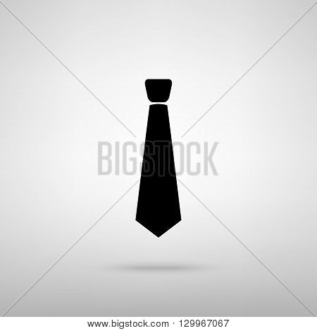 Tie sign. Black with shadow on gray.
