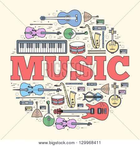 Music instruments circle concept. Vector thin lines illustration background