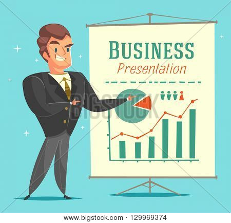 Businessman gives a presentation. Cartoon style character. Vector illustration.
