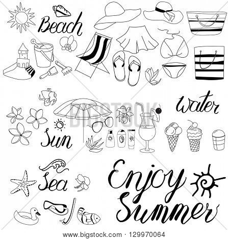 Elements with calligraphy phrase Enjoy Summer and sea objects. Black and white, monochrome.Summer symbols for your design