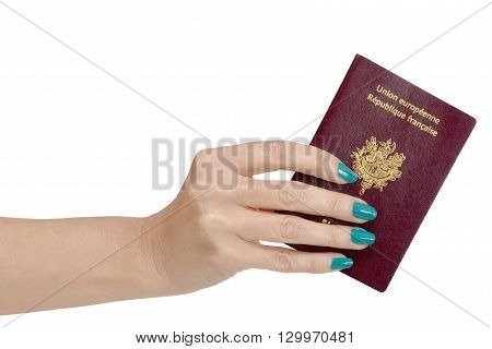 a woman hand with French passport isolated on white background