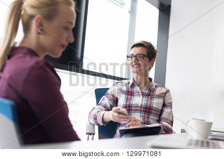 happy  young business woman at modern office meeting room  big window in background