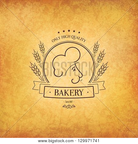 Vintage logotype for bakery and bread shop. Food and drinks logotype symbol design. Crumpled vintage paper background