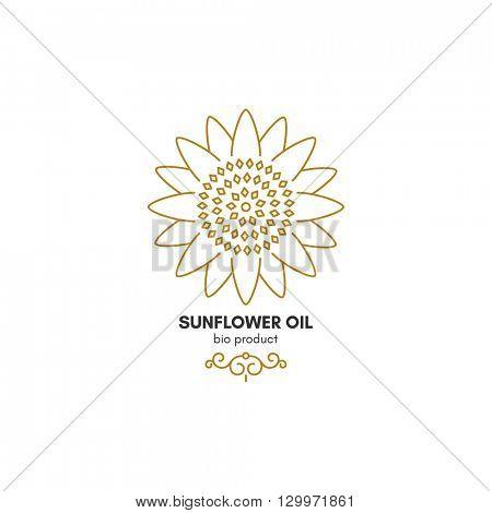 Vintage sunflower logotype, symbol design