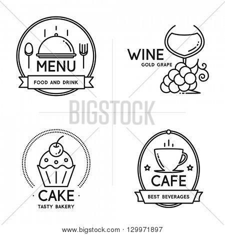 Label and logo set for restaurant, cafe, coffee house, bakeshop, menu design. Food and drinks logotype symbol design