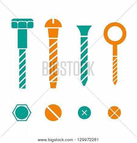 Construction hardware icons. Screws, bolts, nuts and rivets vector