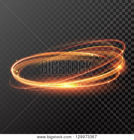 Vector light gold circle light. Glowing fire ring trace effect,