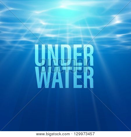 Vector Underwater background. Blue Underwater with ripple and wave lights.