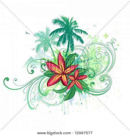Tropisches Paradies. Vektor-Palmen und Plumeria Blüten