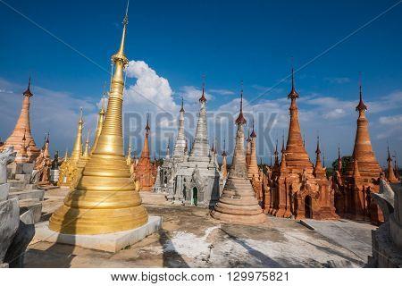 Indein village Pagoda Inle Lake Myanmar at day light