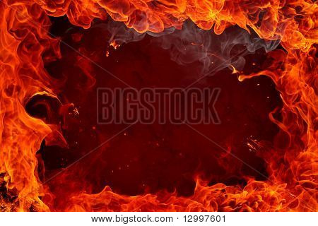 Fire flames on dark background