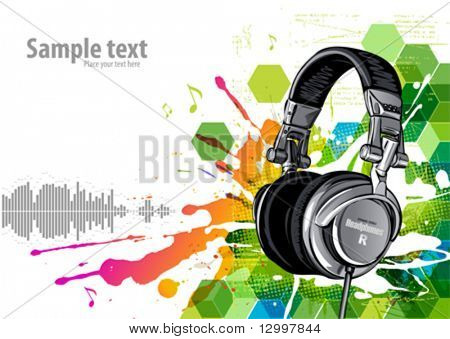 Headphones on a grunge background