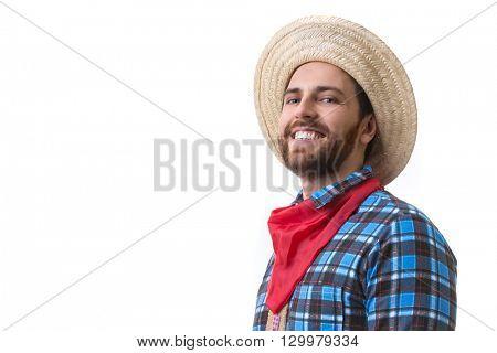 Brazilian man wearing junina costume