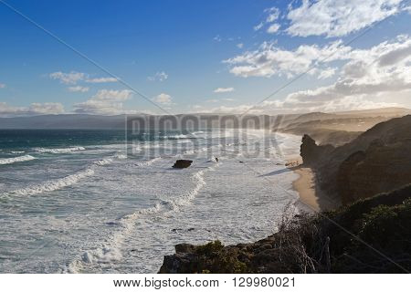 Coastal landscape of the ocean in the afternoon. View from Split Point Lighthouse in Aireys Inlet, on the Great Ocean Road. Famous tourist attraction in Victoria, Australia