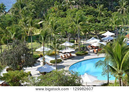 CEBU PHILIPPINES - APRIL 5 2016: Shangri-La Mactan Resort and Spa grounds. The luxury resort features a marine sanctuary.