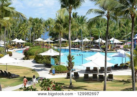 CEBU PHILIPPINES - APRIL 5 2016: Shangri-La Mactan Resort and Spa pool area. The luxury resort features a Marine Sanctuary.