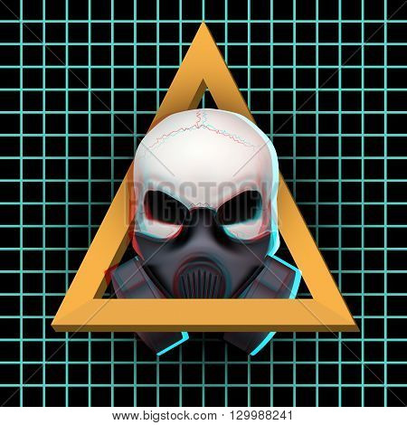 Poster of Human skull with visual Anaglyph stereoscopic effect. Vector Illustration Isolated on White Background. Rave or  trance and hardcore music.