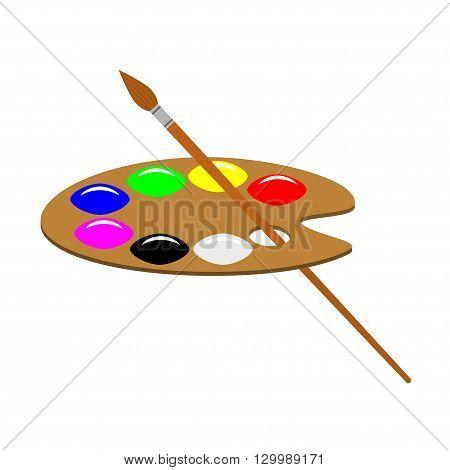 Artist's palette and brush vector illustration. Isolated on white artist's palette and brush.