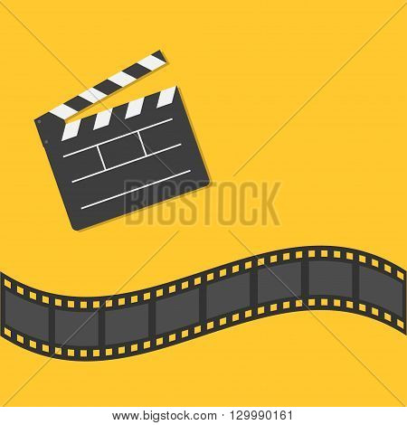 Open movie clapper board template icon. Film strip border. Cinema movie night icon in flat design style. Yellow background. Vector illustration
