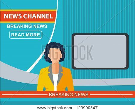 Anchorman on tv news announcer in the studio. Woman flat vector illustration